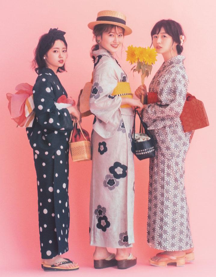 欅坂46の今泉佑唯、長濱ねる、守屋 茜の浴衣姿