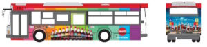 「コカ・コーラ」「コカ・コーラ ゼロ」のカラーボトル バス