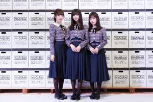 乃木坂46メンバー(左から、堀未 央奈・齋藤 飛鳥・与田 祐希)が2019年1月10日に会場を訪問