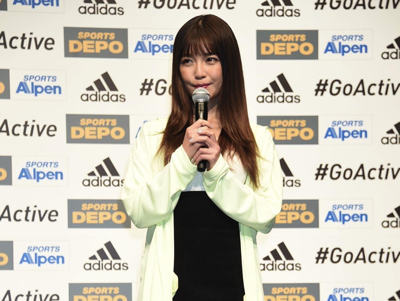 AAA・宇野実彩子/大型スポーツ用品店アルペンと、マルチスポーツブランドのアディダスが共同で企画する「ADIDAS #GoActive キャンペーン」のWEB新CM発表会にて(2019年3月15日)