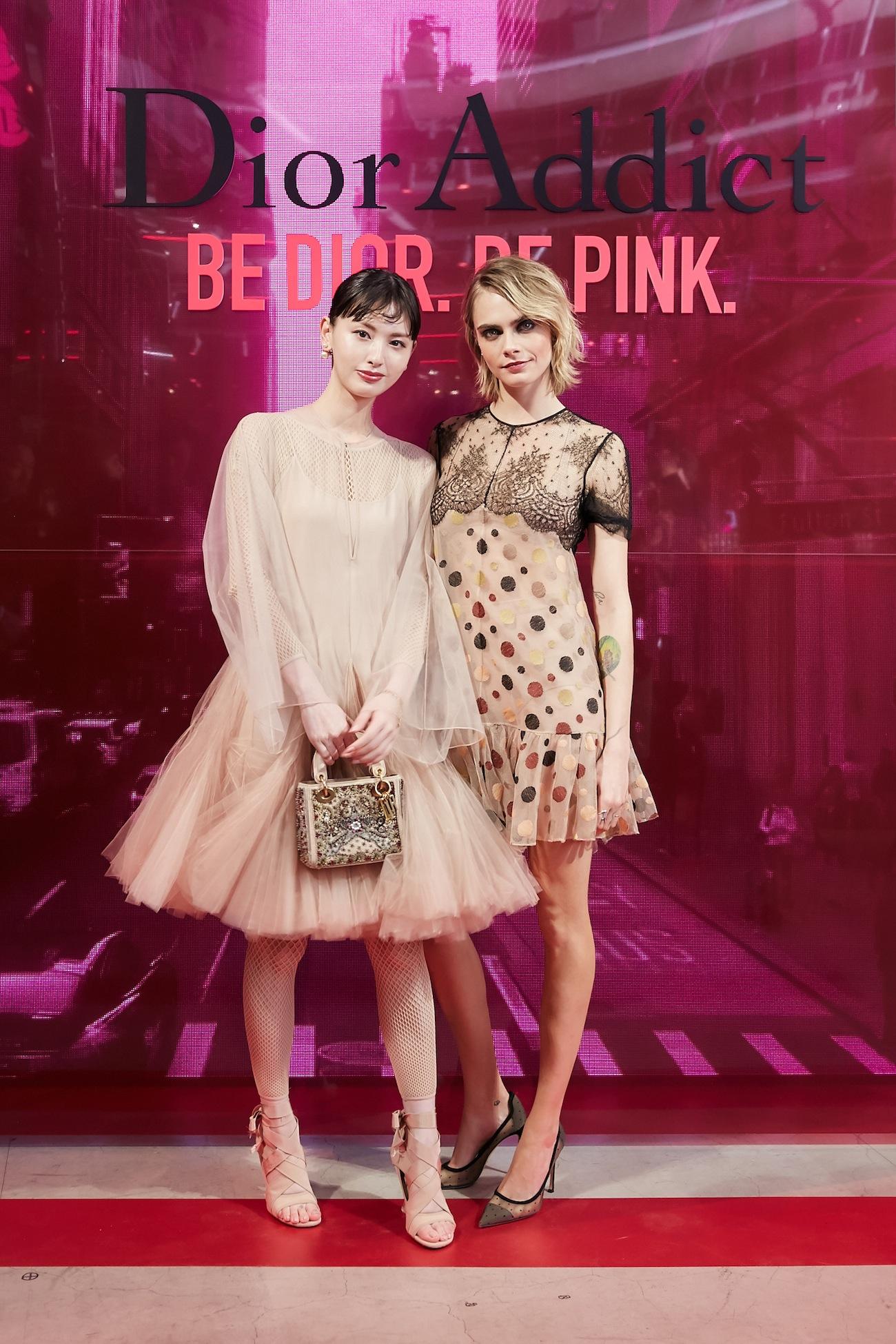 鈴木えみ、カーラ・デルヴィーニュ「Dior Addict Stellar Shine(ディオール アディクト ステラー シャイン)」のローンチイベント(2019年4月2日、渋谷・hotelkoé tokyoにて)