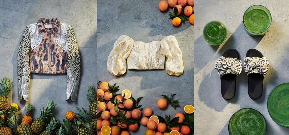 世界最先端のサステイナブル素材:(左)パイナップルの葉をリサイクルしたレザー(中)オレンジの皮をリサイクルした生地(右)藻をリサイクルしたサンダルのソール