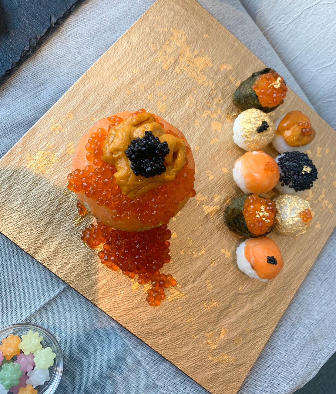 高級手まり寿司:体験型Dining「和色 ‐WASHOKU- 」の先行試食会にて(2019年11月18日:PRINCESS ONLINE編集部)